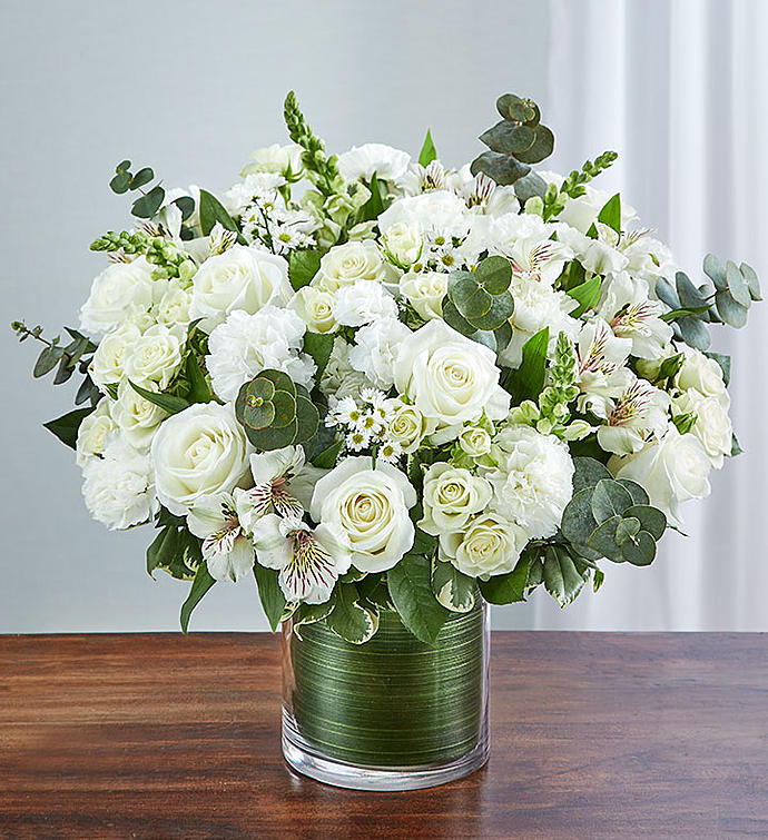 A Bella Mia Flowers & All White Flower Vase For Sympathy